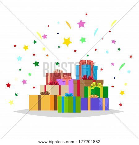 Mountain heap of gift boxes and bright sparkles behind them. Bunch of colorful presents of different shape on white with stars around them. Isolated vector illustration in flat cartoon style