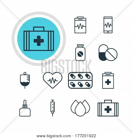 Vector Illustration Of 12 Health Icons. Editable Pack Of Antibiotic, Trickle, Medicament Pitcher And Other Elements.