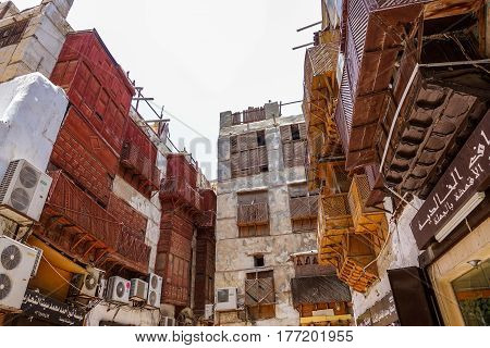 Jeddah, Saudi Arabia-May 26, 2016: Old buildings at the historic area of Jeddah. This area is famously known as Al-Balad (UNESCO's World Heritage)
