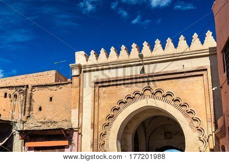 Gate in Medina of Marrakesh, a UNESCO world heritage site in Morocco