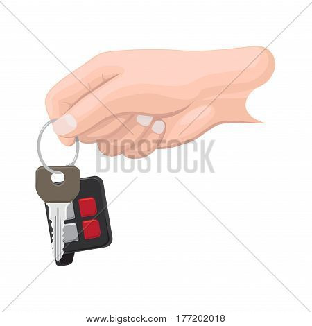 Car key hanging on keyring in human hand flat vector isolated on white background. Man hand holding modern vehicle key with remote alarm illustration for buying new auto or secure access concept