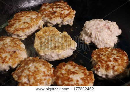 chef fried cutlets meat minced in frying pantraditional cooking