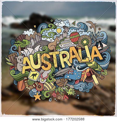 Australia hand lettering and doodles elements and symbols emblem. Vector blurred background