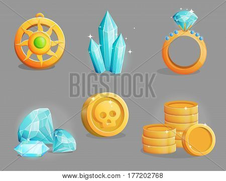 A collection of shiny magic precious gemstones, golden coins, presious jewelry, ring and pendant necklace. Game and app ui icons, decoration and design elements.