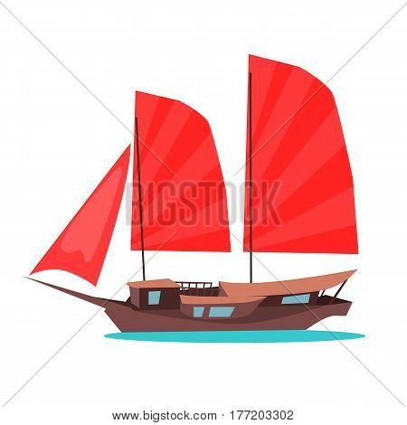 Traditional wooden junk ship icon. Asian sailing ship with red sail flat vector isolated on white background. Oriental ancient merchant boat. Tourist sailboat for travel concepts, logos, web design