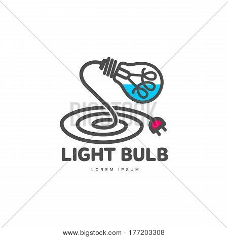 Logo template with light bulb and power cable forming a table lamp, innovation concept, vector illustration isolated on white background. Line art logotype, logo design with light bulb as table lamp