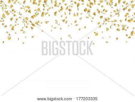 Falling confetti. Bright vector golden confetti background. Confetti and serpentine splash isolated on black night background. Сarnival celebration opening birthday premium design. Night party.