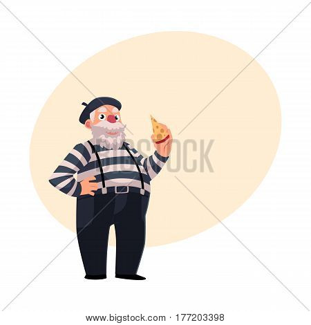 Grey haired, fat French mime in traditional clothing holding cheese as symbols of France, cartoon vector illustration with place for text. French man dressed as mime, comedian performer