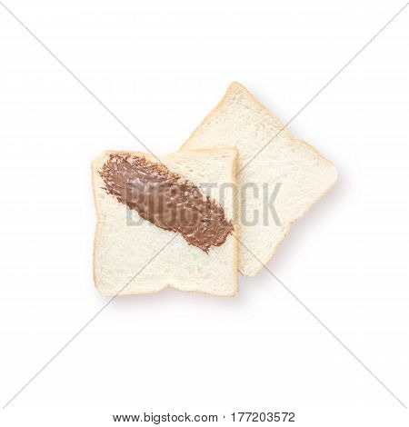 Closeup two slice bread for breakfast with chocolate for breakfast isolated on white background
