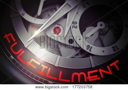Old Wrist Watch Machinery Macro Detail and Inscription - Fulfillment. Time Concept with Lens Flare. 3D Rendering.