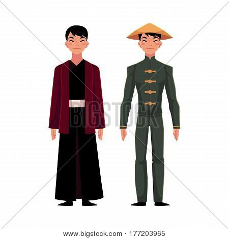 Chinese men in national costumes like long robe with jacket or buttoned tunic, pants and conical hat, cartoon vector illustration isolated on white background. People in Chinese national clothes