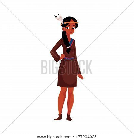 Native American Indian woman in traditional, national short buckskin dress, cartoon vector illustration isolated on white background. Native American, Indian woman in national clothes