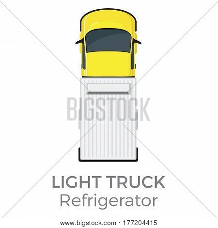Refrigerator light truck top view icon. Small lorry with freezer container flat vector isolated on white background. Commercial vehicle illustration for distribution logistic concepts and infographics