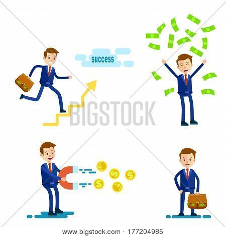 Cartoon businessman in blue suit and red tie in four different positions with money, magnet, briefcase and one that goes to success isolated on white background. Vector illustration of careerist.