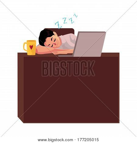 Young businessman, manager sleeping sweetly at office desk, napping on workplace, cartoon vector illustration isolated on white background. Businessman, worker, employee sleeping in office