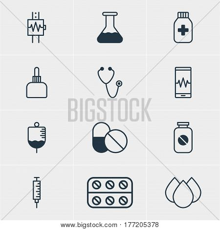 Vector Illustration Of 12 Medicine Icons. Editable Pack Of Aspirin, Pulse, Antibody And Other Elements.