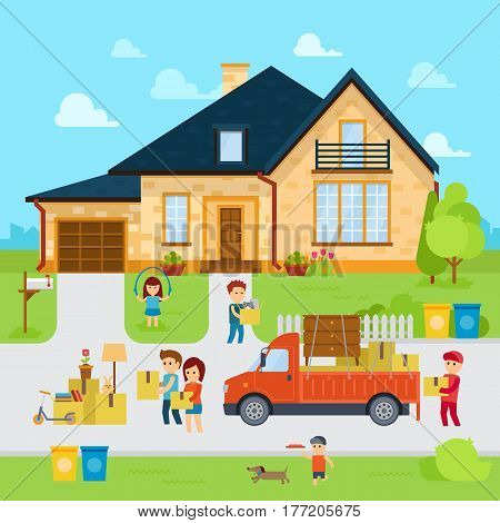 People moving into a new home stock vector, flat design illustration. Infographic elements