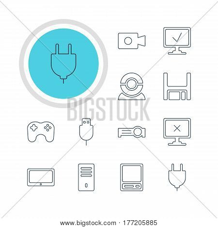 Vector Illustration Of 12 Notebook Icons. Editable Pack Of Pda, Mainframe, Tablet And Other Elements.