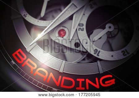Branding on the Fashion Wristwatch Detail, Chronograph Up Close.  Glowing Light Effect. 3D Rendering.