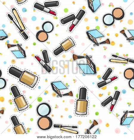 Makeup products set seamless pattern. Cosmetics. Nail polish. Face powder in round back case with mirror. Eyeshadows palette. Face Brush. Red lipstick. Pockmarked background. Cartoon style. Vector