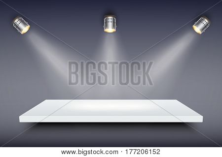 Light box with white presentation platform on dark backdrop with three spotlights. Editable Background Vector illustration.