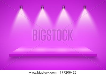 Light box with purple presentation platform on purple backdrop with four spotlights. Editable Background Vector illustration.