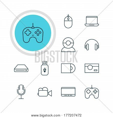 Vector Illustration Of 12 Hardware Icons. Editable Pack Of Camcorder, Memory Storage, Joypad And Other Elements.