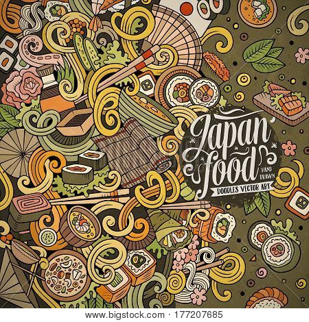 Cartoon hand-drawn doodles Japan food frame. Colorful detailed, with lots of objects vector design background