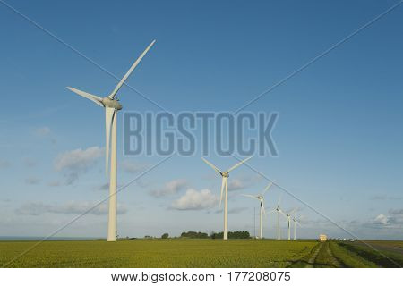 Wind Turbines Of A Power Plant For Electricity Generation In Normandy, France. Concept Of Renewable