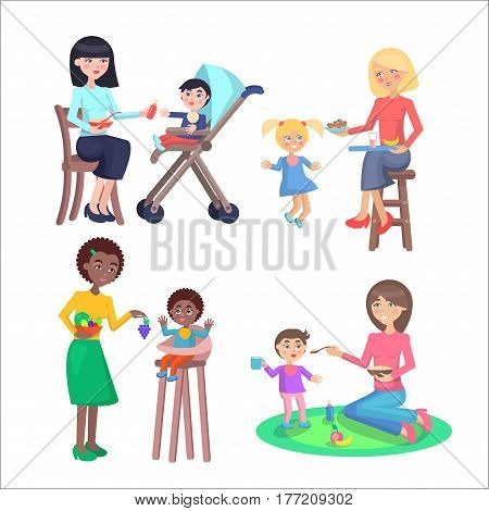Happy mothers feeds little children set. Young women gives tasty porridge, fruits and juices their little sons and daughters in bibs isolated flat vectors. Toddlers healthy nutrition illustration