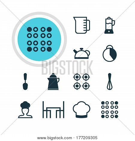 Vector Illustration Of 12 Restaurant Icons. Editable Pack Of Corolla, Teakettle, Furnace And Other Elements.
