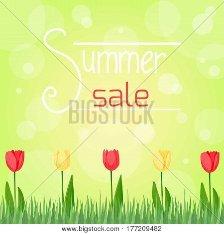 Summer sale poster. Green and yellow colors. Vector illustration, cartoon style