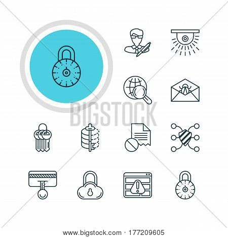 Vector Illustration Of 12 Web Safety Icons. Editable Pack Of Data Error, Internet Surfing, Browser Warning And Other Elements.