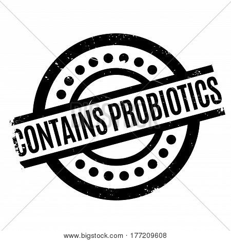 Contains Probiotics rubber stamp. Grunge design with dust scratches. Effects can be easily removed for a clean, crisp look. Color is easily changed.