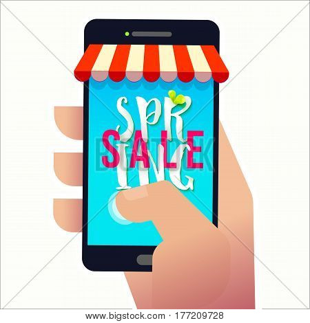 Hand holding smartphone with Spring SALE text on screen. Promotion banner. May used as banner, poster, flyer.Vector illustration