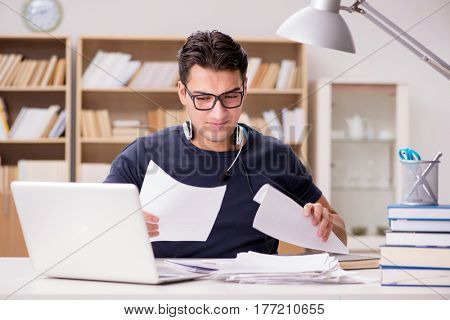 Angry man with too much paperwork to do