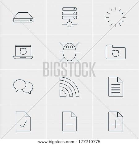 Vector Illustration Of 12 Web Icons. Editable Pack Of Privacy Doc, Checked Note, Computer Virus And Other Elements.