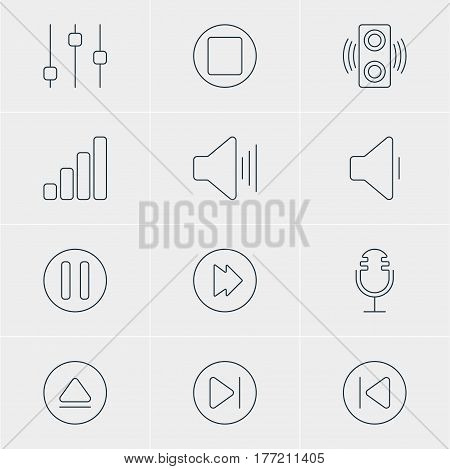Vector Illustration Of 12 Melody Icons. Editable Pack Of Preceding, Amplifier, Subsequent And Other Elements.