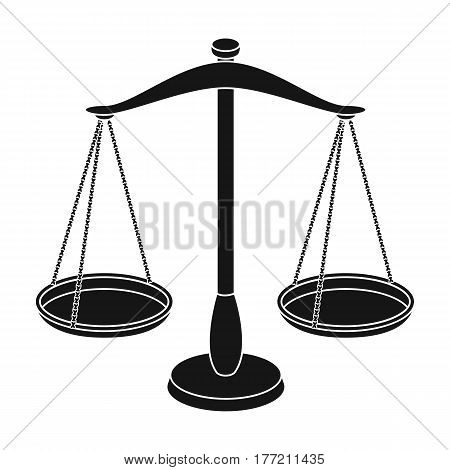 Scales for jewelry. Weights for measuring punishment.Prison single icon in black style vector symbol stock web illustration.
