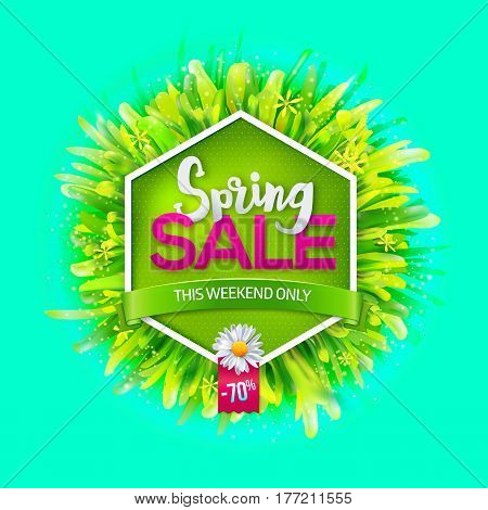 Spring sale label with green grass and chamomile on green background. Green ribbon with This weekend only text. Promotion banner. May used as banner, poster, flyer. Vector illustration