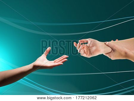 Digital composite of Hands helping each other against green background