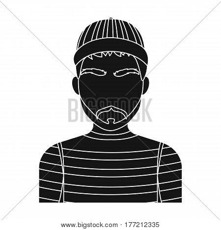 Prisoner in the prison robe. The offender is punished.Prison single icon in black style vector symbol stock web illustration.