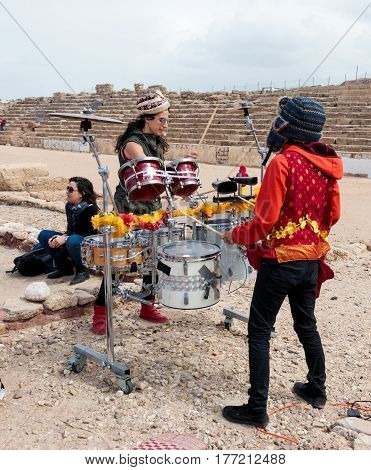 Participant Of Festival Show For Viewers Show On Percussion Instruments
