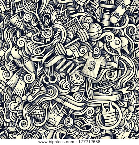 Graphic Sport hand drawn artistic doodles seamless pattern. Monochrome, detailed, with lots of objects vector trace background