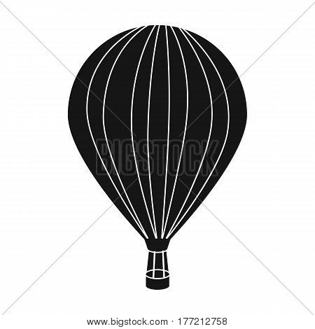 Air balloon for walking. Transport works on warm air. Transport single icon in black style vector symbol stock web illustration.
