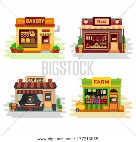 Set of different colorful shops bakery, meat shop, coffee shop, farm products, fruit and vegetables. Flat vector illustration stock set. Infographic elements. Shops on the street