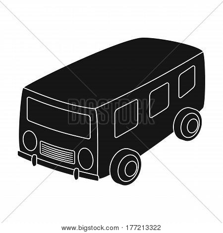 Blue bus for the transportation of a small number of people around the city and the village.Transport single icon in black style vector symbol stock web illustration.
