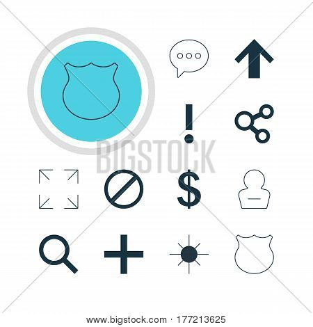 Vector Illustration Of 12 Interface Icons. Editable Pack Of Seek, Plus, Wide Monitor And Other Elements.