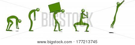 A group of green men or little people performing certain actions. One of them stretches to the floor, the second man is bent over fatigue, the third man carries a box with a load, the fourth man does an exercise of martial art, and the last man jumps.