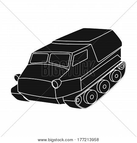 Tank for the marshes. Caterpillar transport of military.Transport single icon in black style vector symbol stock web illustration.